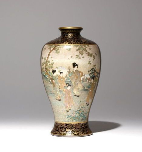 A JAPANESE SATSUMA VASE MEIJI PERIOD, 19TH CENTURY The tall baluster shaped body…