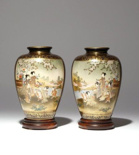 A PAIR OF JAPANESE SATSUMA VASES MEIJI PERIOD, 19TH CENTURY Of baluster shape an…