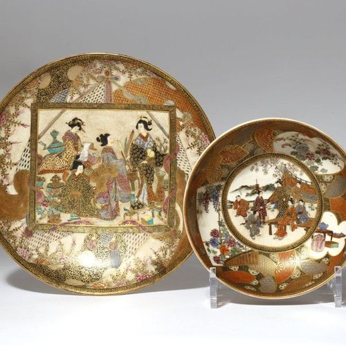 A JAPANESE SATSUMA DISH AND A BOWL MEIJI PERIOD, 19TH CENTURY The plate with a c…