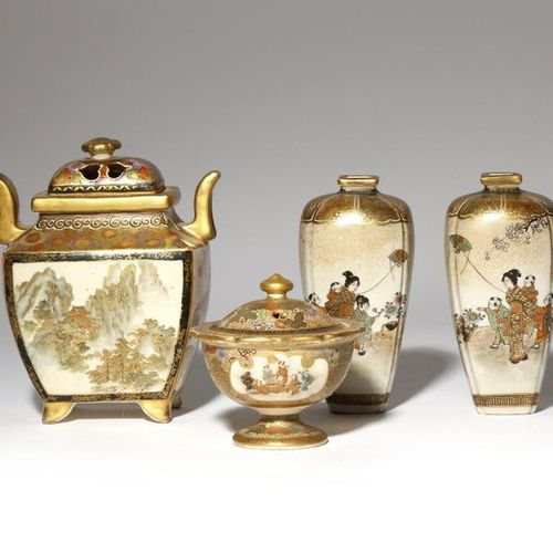 A PAIR OF JAPANESE SATSUMA VASES AND TWO INCENSE BURNERS, KORO MEIJI PERIOD, 19T…