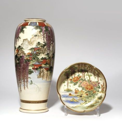 A JAPANESE SATSUMA VASE AND A BOWL MEIJI PERIOD, 19TH OR 20TH CENTURY The tall b…
