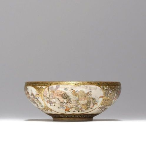 A JAPANESE SATSUMA BOWL MEIJI PERIOD, 19TH CENTURY The well decorated with a mul…