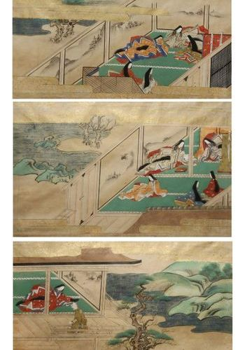 THREE JAPANESE TOSA SCHOOL PAINTINGS MEIJI PERIOD, 19TH CENTURY In ink, gold and…