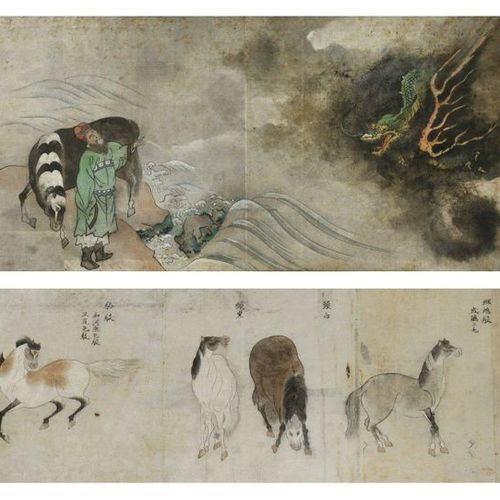 TWO JAPANESE PAINTINGS EDO OR MEIJI PERIOD, 18TH OR 19TH CENTURY Both ink and co…