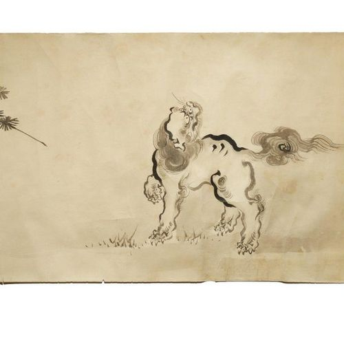 A JAPANESE HANDSCROLL PAINTING, MAKIMONO EDO PERIOD, 19TH CENTURY In ink on pape…