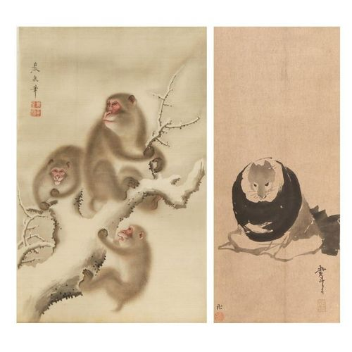 TWO JAPANESE PAINTINGS MEIJI PERIOD, 19TH CENTURY One painted in ink and colour …