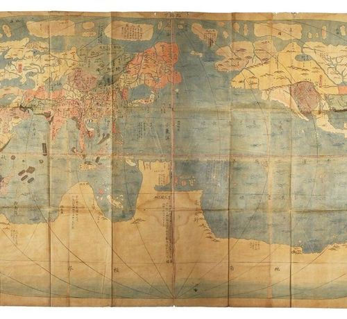 A RARE JAPANESE WOODBLOCK PRINT MAP OF THE WORLD BY HARAME SADAKIYO (ACT. 18TH C…