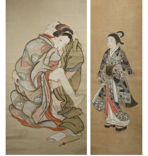 A JAPANESE SHUNGA EROTIC PAINTING, KAKEMONO MEIJI OR TAISHO PERIOD, 19TH OR 20TH…