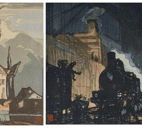 TWO JAPANESE WOODBLOCK PRINTS BY YOSHIJIRO URUSHIBARA (1888 1953) TAISHO PERIOD,…