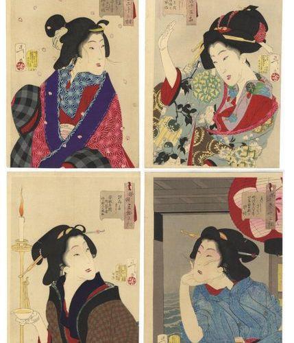 FOUR JAPANESE WOODBLOCK PRINTS BY TSUKIOKA YOSHITOSHI (1839 1892) MEIJI PERIOD, …