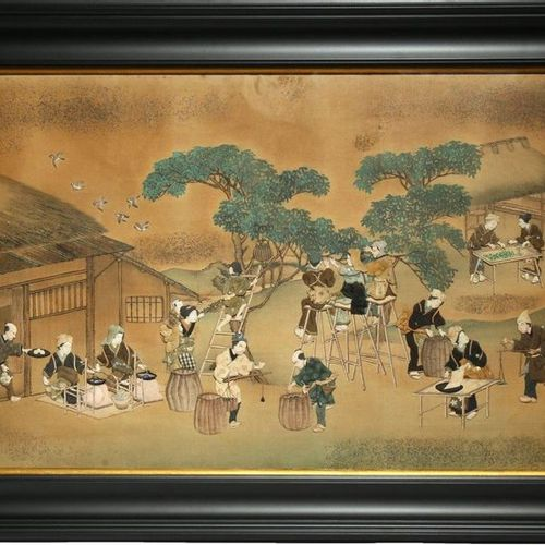A JAPANESE PADDED SILK PANEL, OSHI E MEIJI PERIOD, 19TH CENTURY Depicting many f…