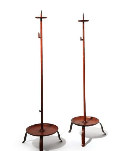 A PAIR OF JAPANESE PRICKET CANDLESTICKS, SHOKUDAI EDO PERIOD OR LATER, 19TH CENT…
