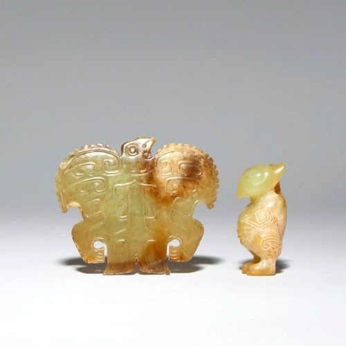 TWO CHINESE ARCHAISTIC YELLOW JADE 'BIRD' PENDANTS PROBABLY QING DYNASTY One car…