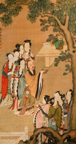 AFTER TANG YIN (19TH CENTURY) BEAUTIES IN A GARDEN A Chinese scroll painting, in…
