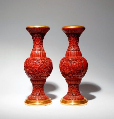 A PAIR OF CHINESE CINNABAR LACQUER 'SCHOLARS' VASES 18TH/EARLY 19TH CENTURY Each…