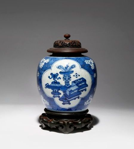A CHINESE BLUE AND WHITE 'HUNDRED ANTIQUES' VASE KANGXI 1662 1722 Painted with t…