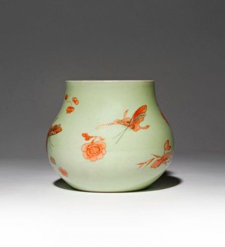 A CHINESE IRON RED ENAMELLED CELADON GROUND 'BUTTERFLY' VASE 19TH CENTURY The sq…