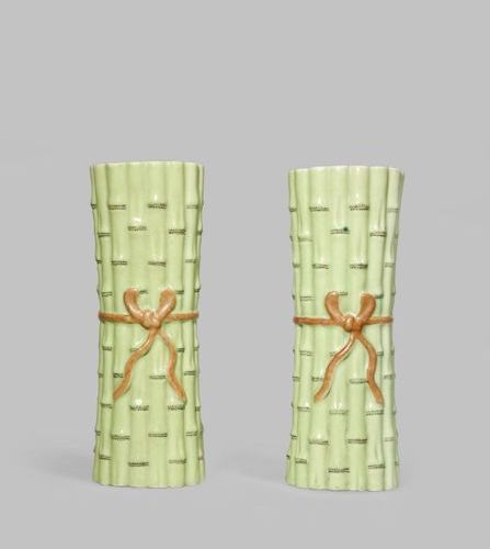A PAIR OF CHINESE PORCELAIN 'BAMBOO' WALL VASES QING DYNASTY Each moulded as a b…
