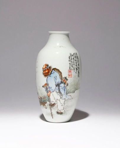 A CHINESE ENAMELLED VASE REPUBLIC PERIOD The ovoid body surmounted by a short ne…