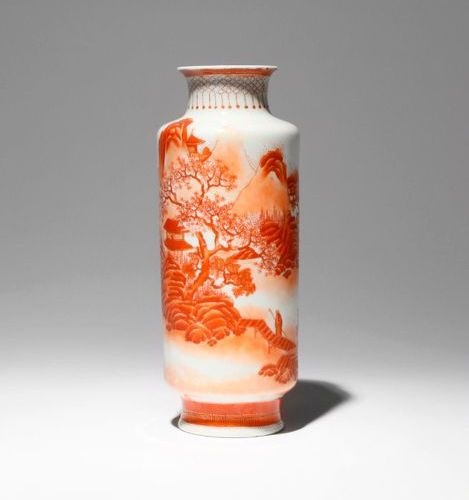 A CHINESE ROUGE DE FER 'LANDSCAPE' VASE REPUBLIC PERIOD The cylindrical body pai…