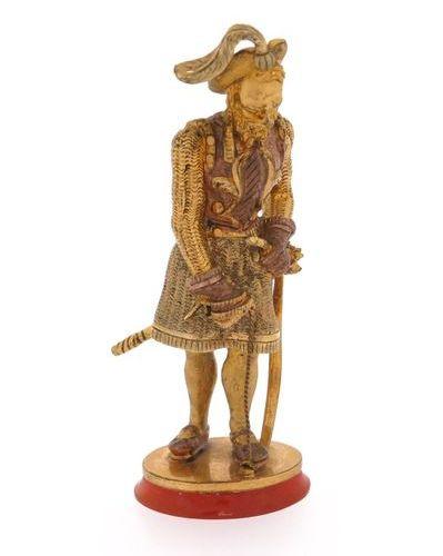 Sceau de bureau en métal doré du XIXe siècle, figure d'un gentilhomme du XVIe si…