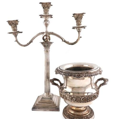 An early 19th century old Sheffield plated wine cooler, circa 1830, campana form…