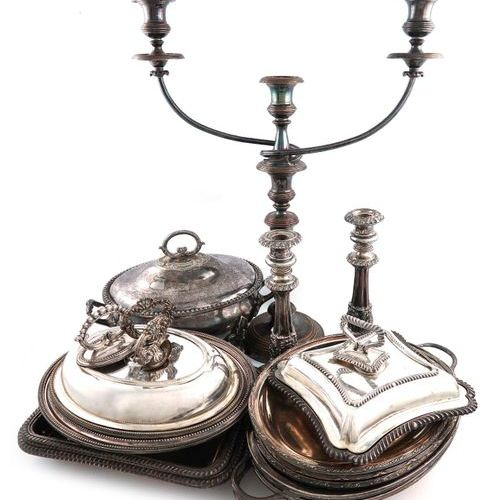 A mixed lot of old Sheffield plated and electroplated items, comprising: a pair …