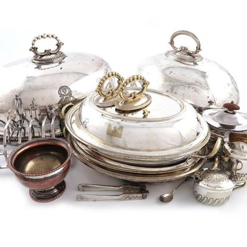 A mixed lot, comprising silver items: an Edwardian inkwell, London 1903, a pair …