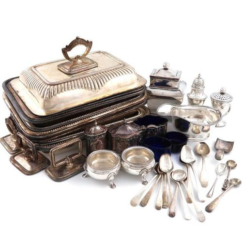 A mixed lot, comprising silver items: a pair of George II cauldron salt cellars,…