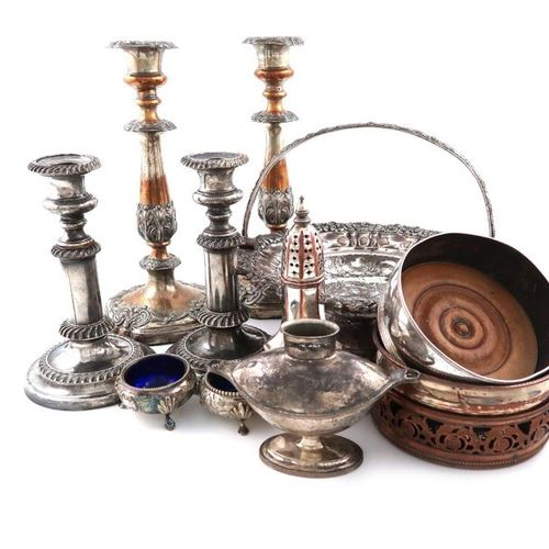 ?A mixed lot of old Sheffield and electroplate, including a coffee pot, of taper…