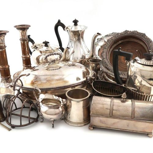 A mixed lot of old Sheffield plate and electroplate, comprising: a set of four w…