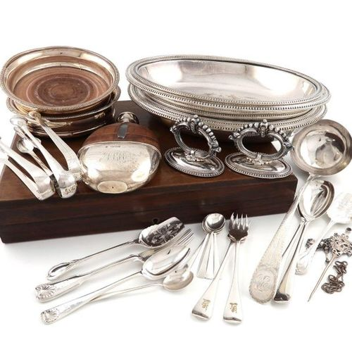 ?A mixed lot, comprising silver items: a George III Bright cut soup ladle, Londo…