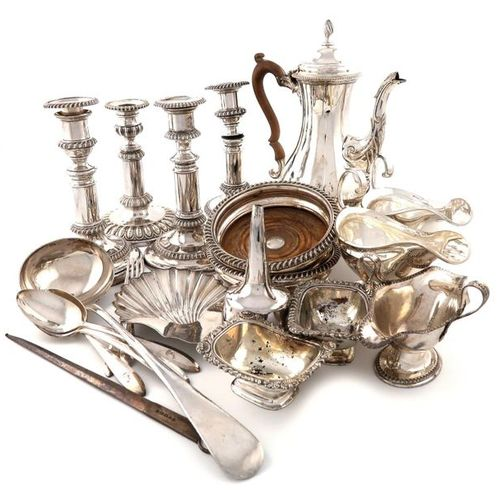 A large quantity of old Sheffield and electroplated items, comprising: a pair of…