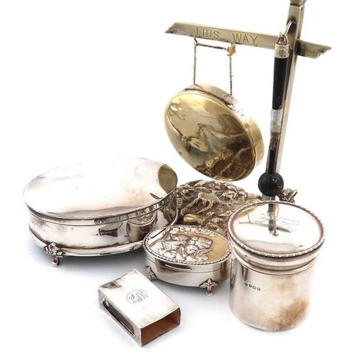 A mixed lot, comprising silver items: a dressing table jar, Birmingham 1911, the…
