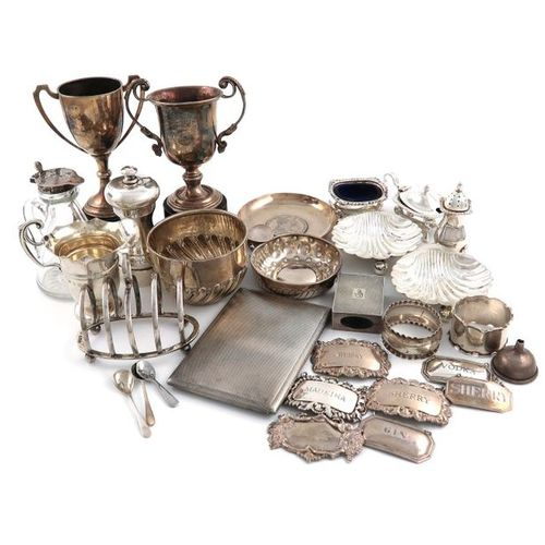 A mixed lot of silver items, various dates and makers, comprising: a French wine…