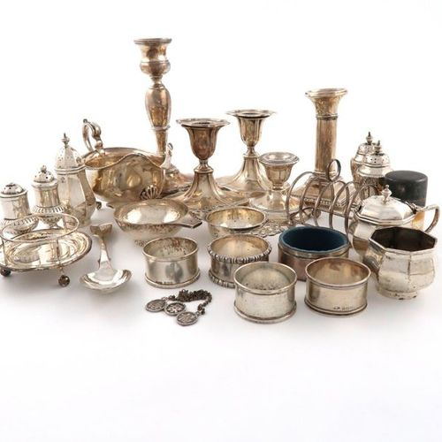 A mixed lot of silver items, various dates and makers, comprising: a pair of dwa…