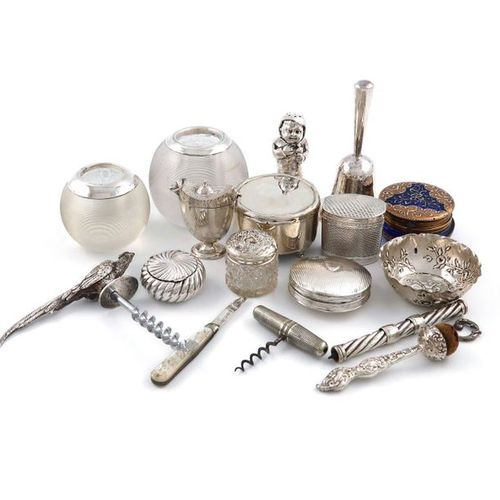 A mixed lot, comprising silver items: a modern corkscrew, the handle modelled as…