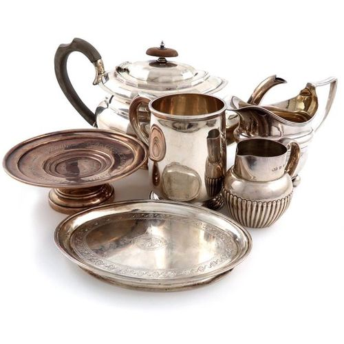 A mixed lot of silver items, various dates and makers, comprising: a teapot, by …