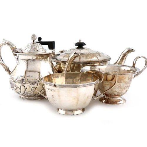 ?A small collection of silver tea wares, comprising: a tea pot and sugar bowl of…