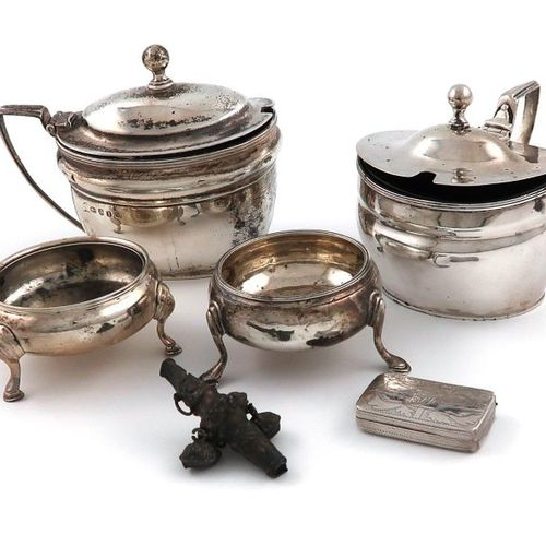 A mixed lot of silver items, comprising: two George III mustard pots, makers mar…