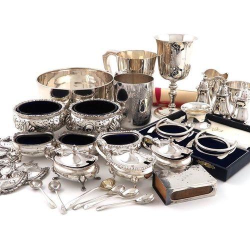 A mixed lot of silver items, various dates and makers, comprising: a commemorati…