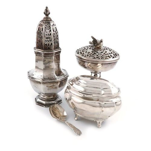 A mixed lot of silver items, comprising: an Edwardian sugar caster, by D and J W…