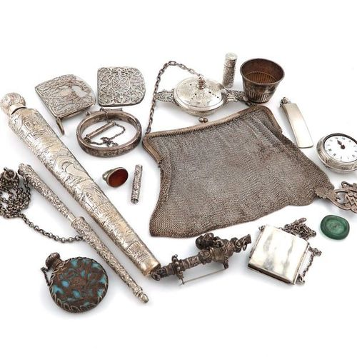 A mixed lot of silver items, various dates and makers, comprising: a long Victor…