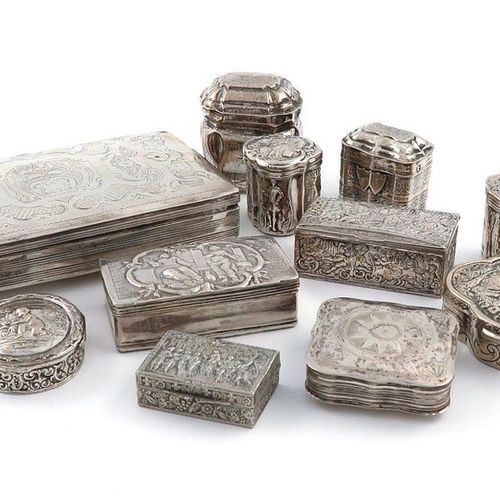 A mixed lot of Dutch and continental silver boxes, comprising: a Dutch tobacco b…