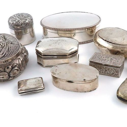 ?A mixed lot of silver boxes, various dates and makers, comprising: a late Victo…