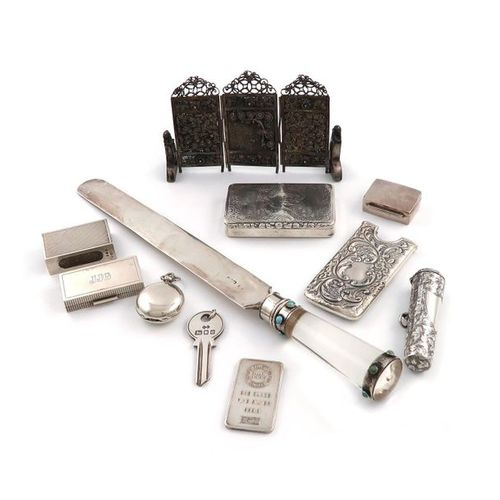 A mixed lot of silver items, various dates and makers, comprising: a silver and …
