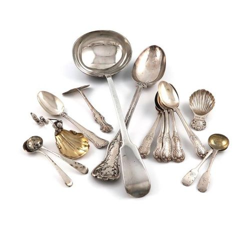 A mixed lot of silver flatware, comprising: an early Victorian Adelaide pattern …