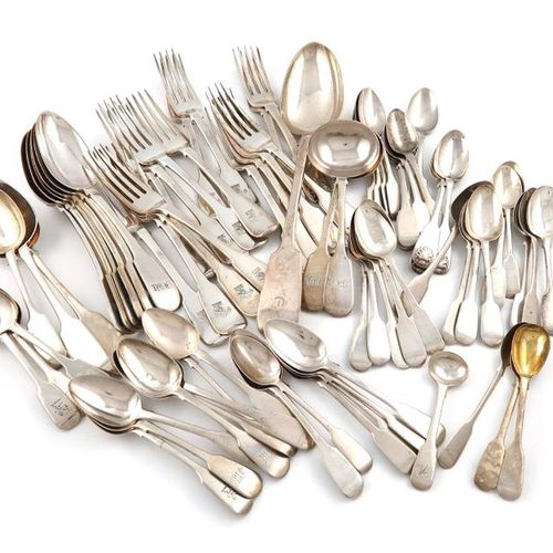 A collection of silver Fiddle pattern flatware, various dates and makers, includ…