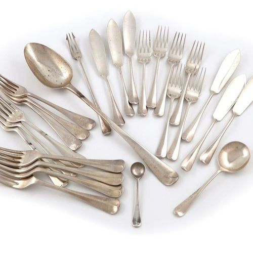 A mixed lot of silver Hanoverian pattern flatware, various dates and makers, com…