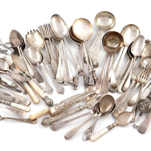 A mixed lot of silver flatware, various dates and makers, comprising: four Victo…